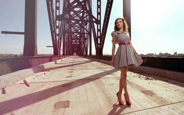 girl, dress, bridge, model, feet, photoshoot, high heels