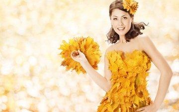 листья, девушка, настроение, платье, улыбка, осень, волосы, лицо