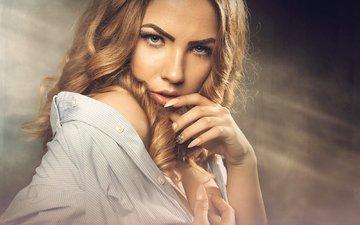 eyes, girl, blonde, portrait, model, face, photoshoot, long hair