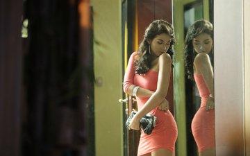 девушка, отражение, платье, зеркало, модель