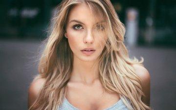 девушка, блондинка, портрет, модель, лицо, фотосессия, длинные волосы, паулина, мартин кюн, paulina kurka