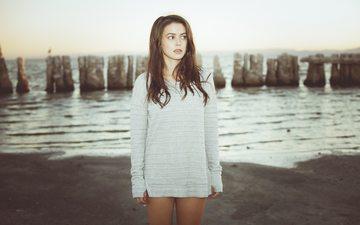 девушка, море, пляж, ноги, певица, наскальные, meg myers