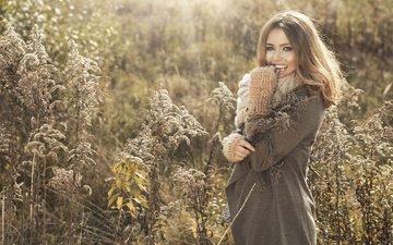 трава, девушка, улыбка, взгляд, осень, волосы, лицо, на природе, пальто