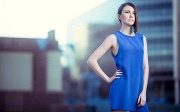 девушка, взгляд, волосы, лицо, синее платье, бретань