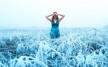 трава, девушка, платье, поле, иней, холод, синее платье, lizzy gadd
