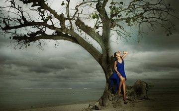 дерево, берег, девушка, море, пляж, модель, азиатка, синее платье