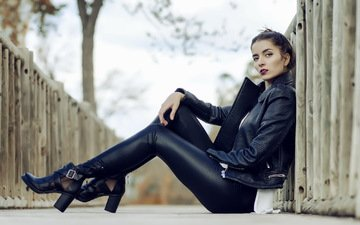 girl, the city, tights, model, legs, jacket, photoshoot, sitting, kozhanka, high heels