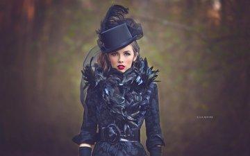 стиль, девушка, портрет, взгляд, модель, перья, макияж, шляпа