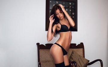 girl, hair, face, black lingerie