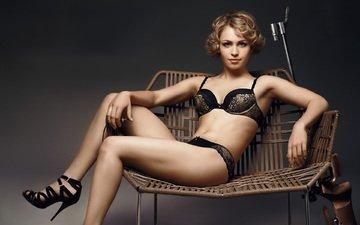 girl, blonde, black lingerie, magdalena neuner