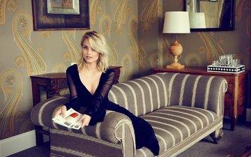 блондинка, взгляд, актриса, диван, знаменитость, дианна агрон