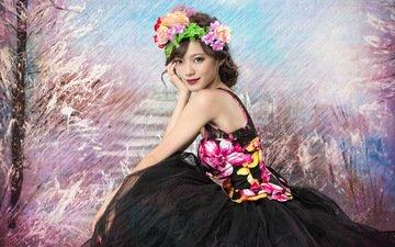 цветы, стиль, девушка, платье, брюнетка, венок, азиатка, красная помада