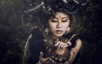 girl, portrait, model, snake, medusa, makeup, asian, mythology