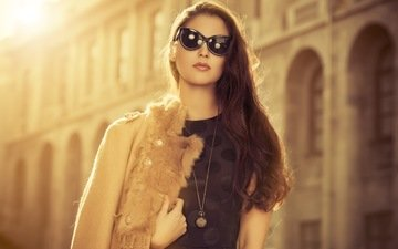girl, the city, glasses, street, medallion, hair, face, coat