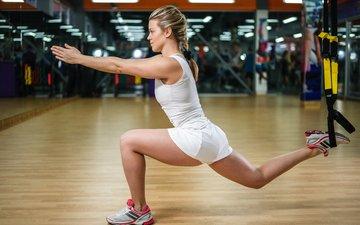 девушка, ноги, растяжка, фитнес, спортзал, упражнение, расстяжка, спортивный зал