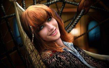 девушка, улыбка, взгляд, рыжая, сетка, волосы, лицо, гамак, лежа, бусины