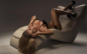 girl, blonde, look, legs, hair, face, chair