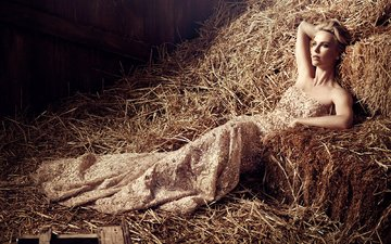 girl, dress, blonde, hay, look, model, face, actress, charlize theron