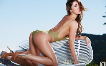 girl, pose, look, hair, face, heels, tattoo, swimsuit, casey conelly