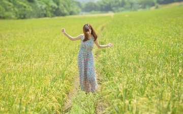 girl, mood, dress, smile, field, path, hair
