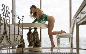 girl, table, model, posing, olga kobzar, biskereczek