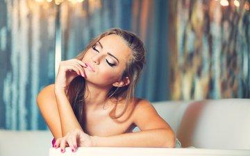 девушка, волосы, лицо, макияж, закрытые глаза, маникюр, голые плечи, julia sariy