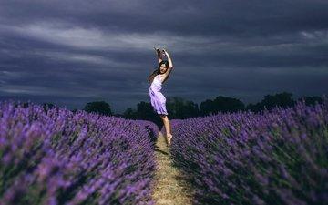 цветы, девушка, настроение, поле, лаванда, прыжок, танец