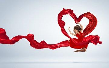 girl, mood, joy, heart, dance, fabric, hair, red dress