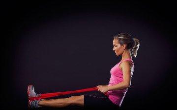 girl, pose, legs, black background, fitness, sports wear, gum
