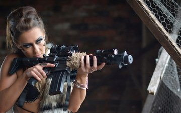 girl, background, weapons, look, hair, face, machine, makeup