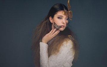 стиль, девушка, настроение, фон, взгляд, модель, волосы, лицо, бабочки, белое платье