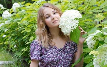 цветы, девушка, взгляд, модель, волосы, лицо, позирует, джефф милтон