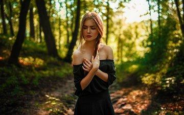 лес, девушка, платье, модель, фотосессия, солнечный свет, георгий чернядьев, василиса