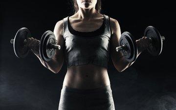 девушка, руки, фитнес, гантели
