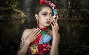 девушка, платье, портрет, модель, татуировки, макияж, азиатка, фотосессия, маникюр