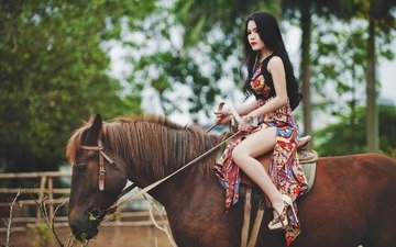 horse, girl, dress, pose, brunette, model, legs, mane