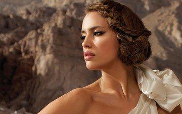 style, girl, portrait, brunette, model, profile, green eyes, makeup, hairstyle, white dress, irina shayk