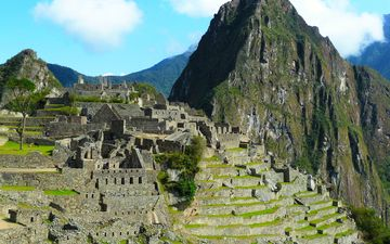 the sky, clouds, mountains, ruins, the ancient city, peru, machu picchu, the incas, south america