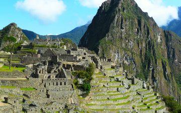 небо, облака, горы, руины, древний город, перу, мачу-пикчу, инки, южная америка
