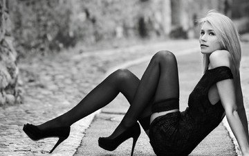 road, girl, look, black and white, model, stockings, heels, figure, shoes, sitting