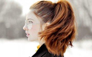 девушка, портрет, очки, профиль, лицо, рыжеволосая, ebba zingmark, эбба зингмарк
