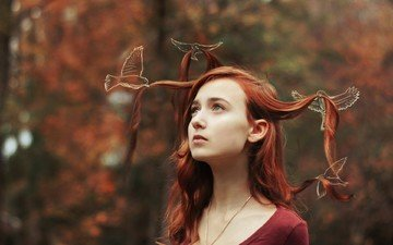 forest, girl, portrait, red, birds, hair