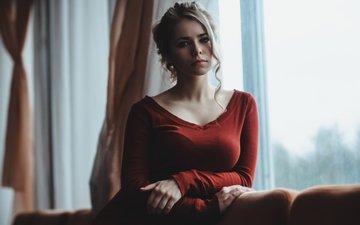 girl, blonde, look, model, hair, window, hairstyle, red dress, alexei morozov