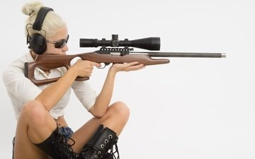 weapons, blonde, rifle, optical sight