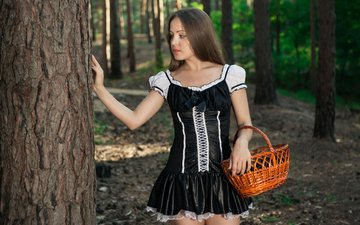 деревья, лес, девушка, платье, взгляд, модель, профиль, волосы, лицо, корзина, emilia p