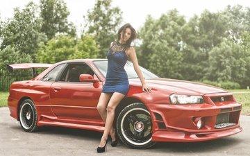 girl, dress, brunette, model, car, nissan, sports car, sedan