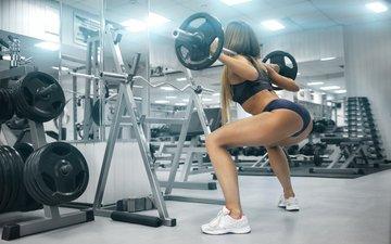девушка, поза, модель, фитнес, спортзал, штанга, тренажерный зал, упражнение, упражнения, приседание