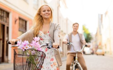 girl, smile, people, guy, pair, walk, bikes