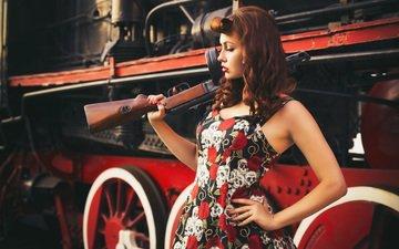 стиль, девушка, оружие, ретро, взгляд, модель, автомат, амуниция, снаряжение, паровоз, бронепоезд, svetlana nevskaya