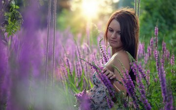 цветы, девушка, настроение, взгляд, волосы, лицо, полевые цветы, качели
